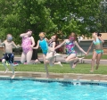 A group of campers having fun at Evans Pool!